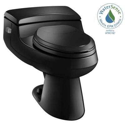 San Raphael Comfort Height 1-piece 1 GPF Single Flush Elongated Toilet in Black, Seat Included