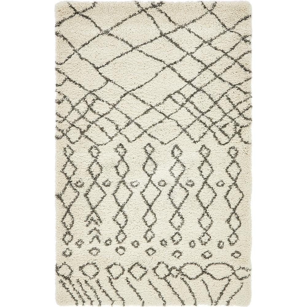 Rabat Shag Geometric Pure Ivory 5' 0 x 8' 0 Area Rug