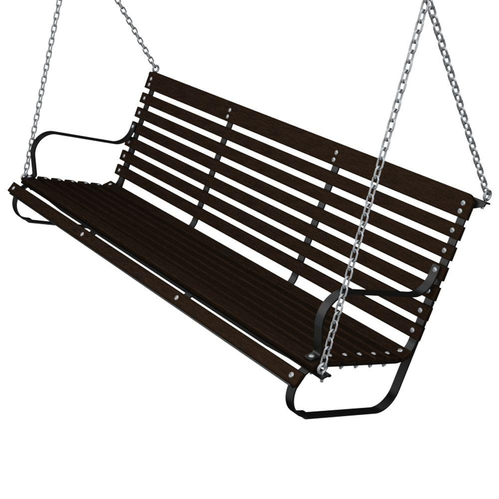 60 in. Black and Mahogany Patio Swing