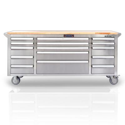 72 in. 15-Drawer Mobile Workbench Tool Chest Cabinet with Wooden Top in Stainless Steel