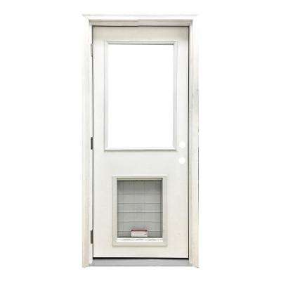 30 in. x 80 in. Classic Clear Half Lite RHOS White Primed Fiberglass Prehung Front Door with SL Pet Door