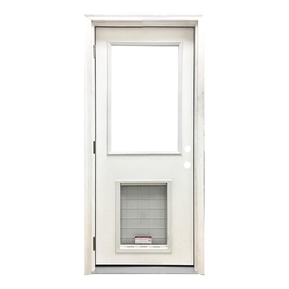 32 in. x 80 in. Classic Clear Half Lite RHOS White Primed Fiberglass Prehung Front Door with SL Pet Door