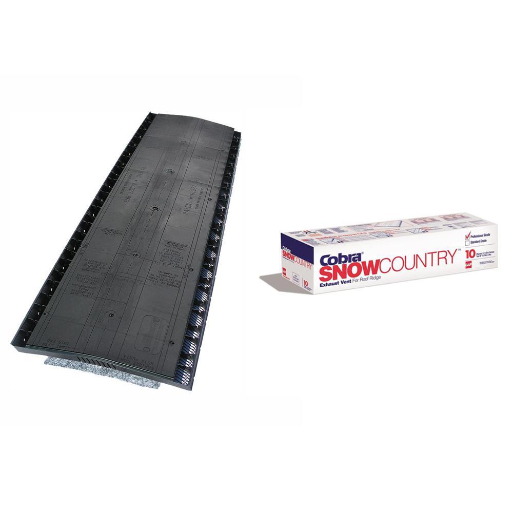 Cobra SnowCountry 11.5 in. x 48 in. Roof Ridge Exhaust Vent in Black, Case