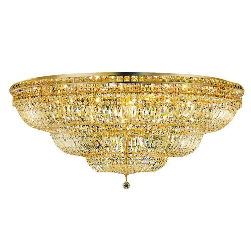 Elegant Lighting 33-Light Gold Flushmount with Clear Crystal