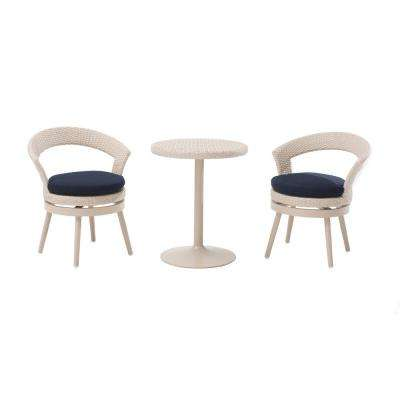 Fresh 3-Piece Patio Bistro Set with Navy Cushions