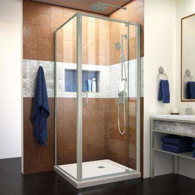 Flex 32 in. x 32 in. x 74.75 in. Framed Corner Pivot Shower Enclosure in Brushed Nickel and Biscuit Corner Shower Base