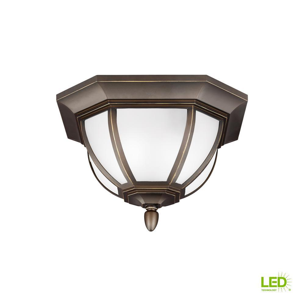 Childress Antique Bronze 2-Light Outdoor Flush Mount with LED Bulbs