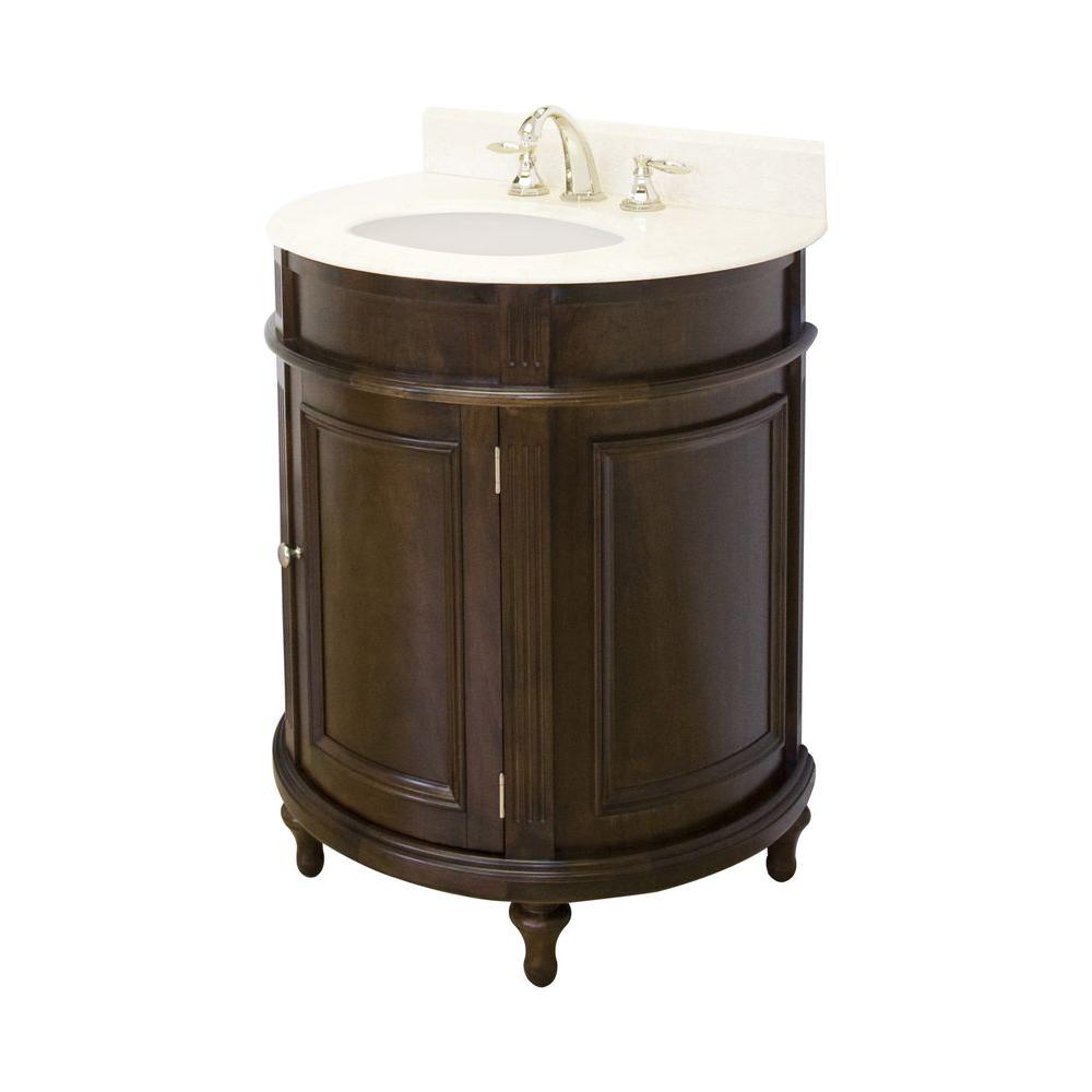 American Imaginations 30-in. W x 21-in. D Birch Wood-Veneer Vanity Set In Walnut