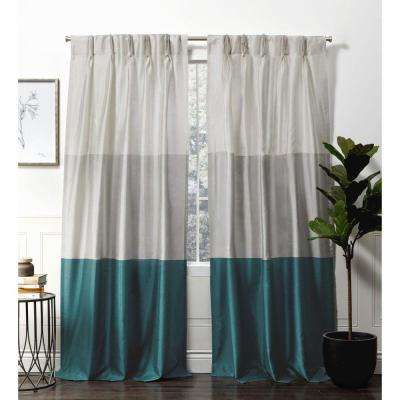 Chateau Teal  Room Darkening Triple Pinch Pleat Top Curtain Panel -  27 in. W x 96 in. L  (2-Panel)