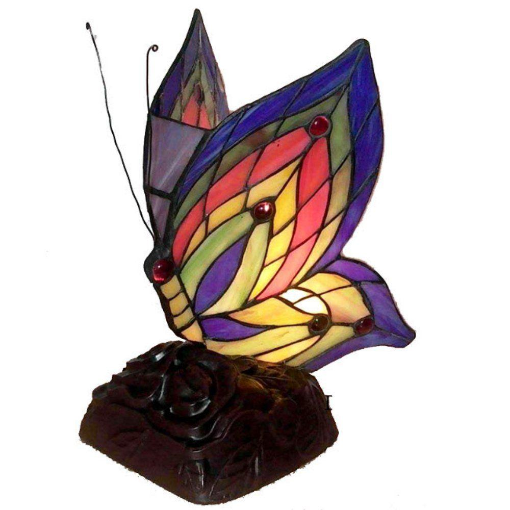 Warehouse of Tiffany 10 in. Butterfly Brown/Multicolored Accent Lamp