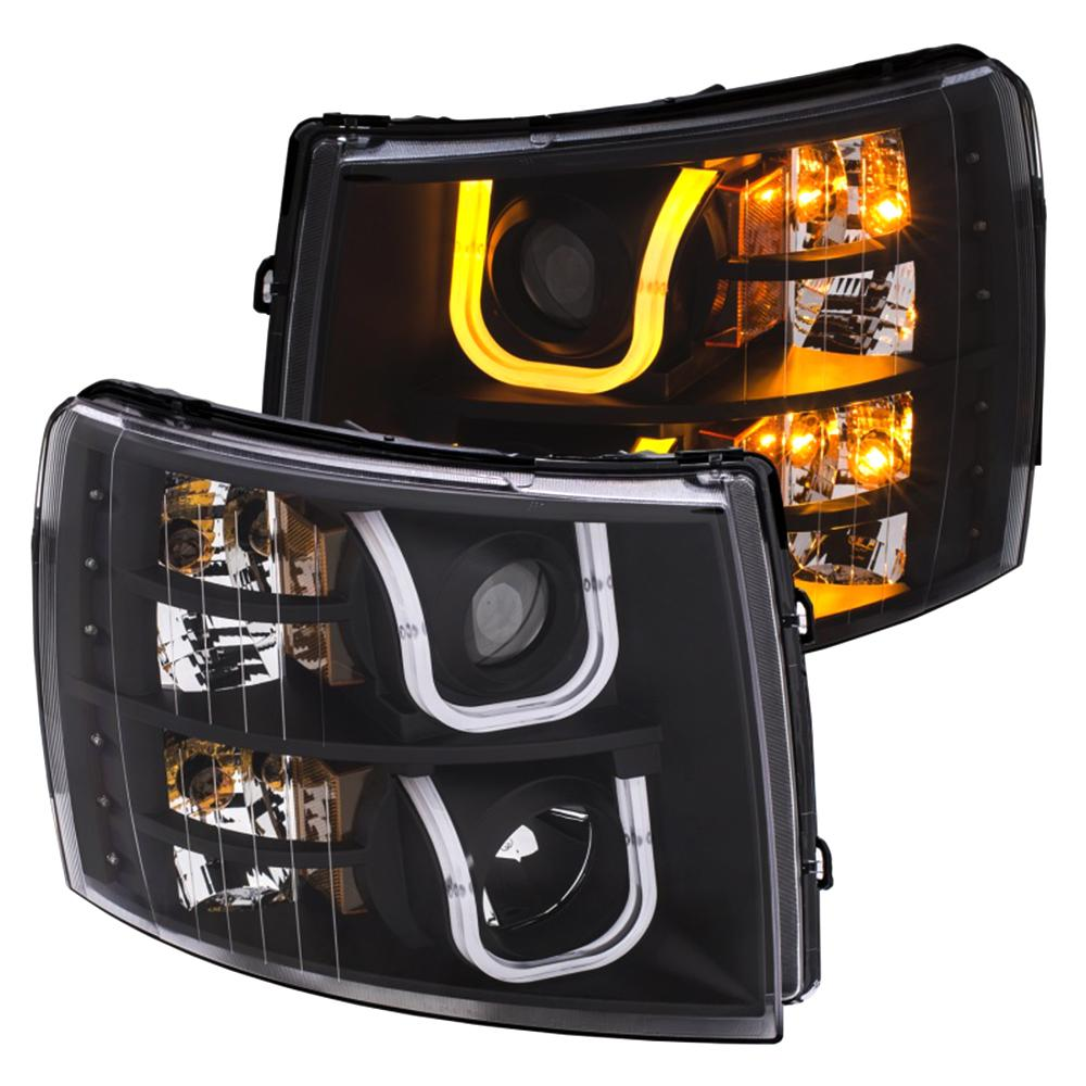 2007 2017 Chevrolet Silverado 1500 2500 Projector Headlights W U Bar Switchback Black Amber