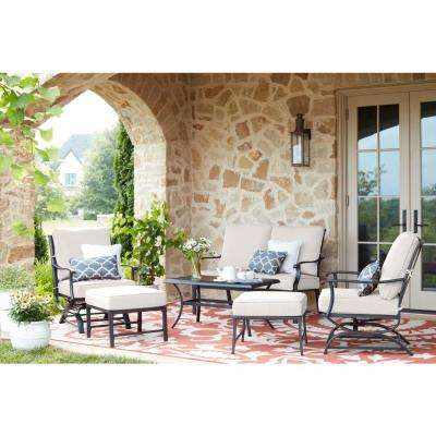 Redwood Valley Black 6-Piece Steel Outdoor Patio Deep Seating Set with CushionGuard Chalk White Cushions