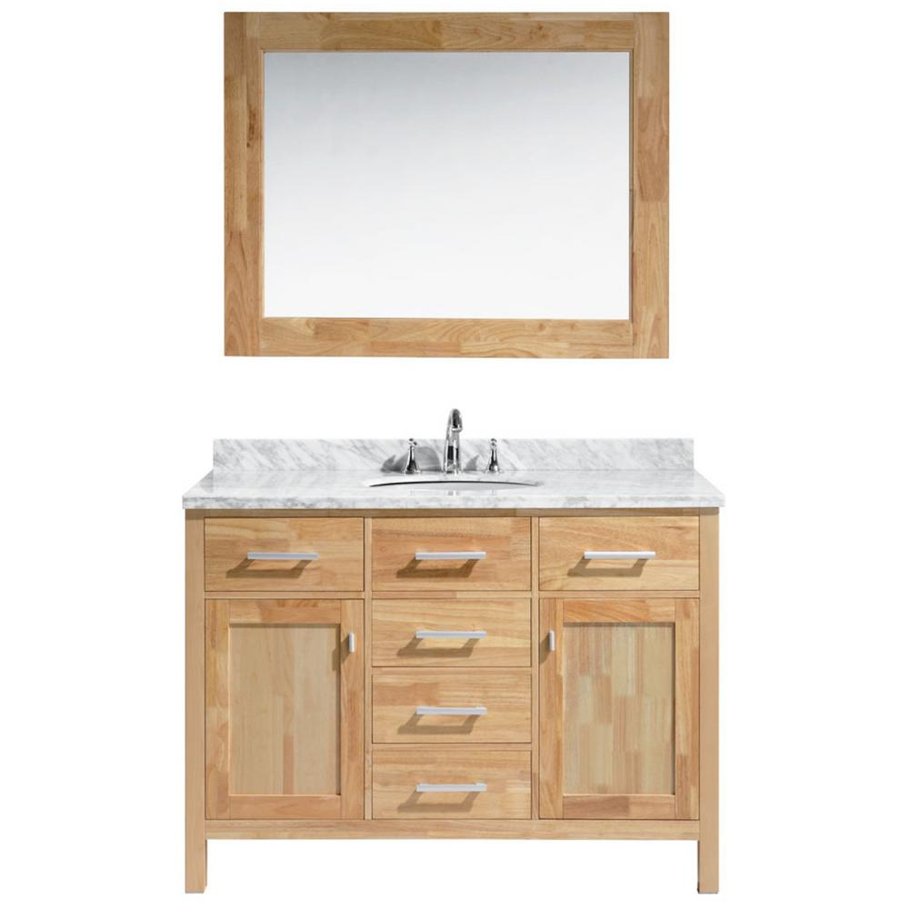 Design Element London 48 in. W x 22 in. D x 34.5 in. H Vanity in Honey Oak with Marble Vanity Top in White with White Basin and Mirror