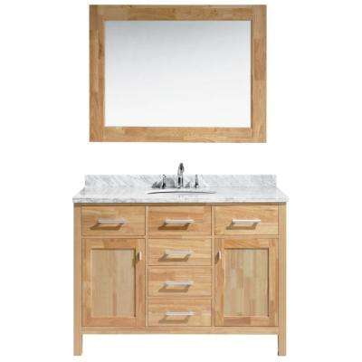 London 48 in. W x 22 in. D x 34.5 in. H Vanity in Honey Oak with Marble Vanity Top in White with White Basin and Mirror
