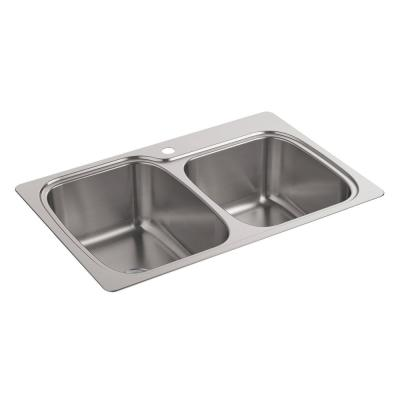 Verse Drop-In Stainless Steel 33 in. 1-Hole Double Bowl Kitchen Sink