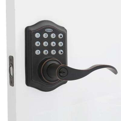 Oil Rubbed Bronze Keypad Electronic Door Lever Entry Lock with Alarm