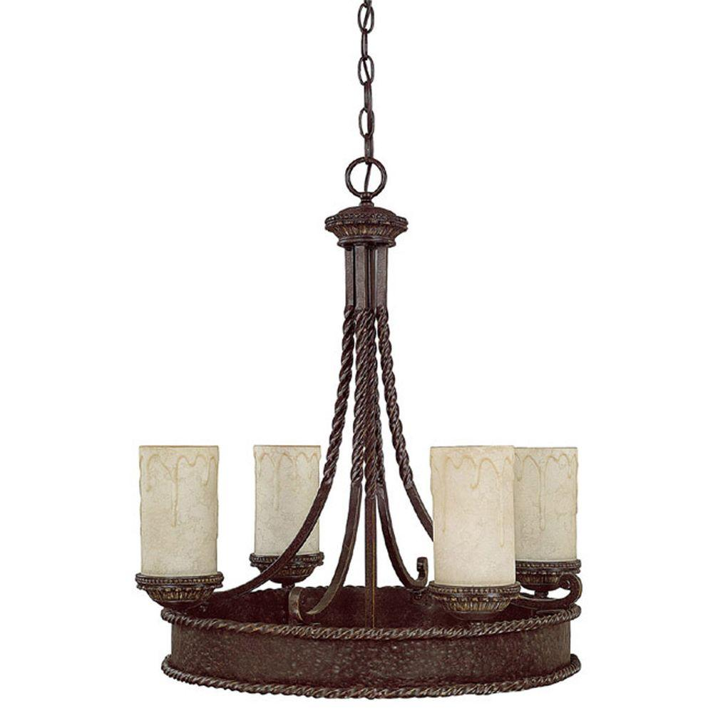 Filament Design 4-Light Weathered Brown Chandelier with Rust Scavo Glass Shade