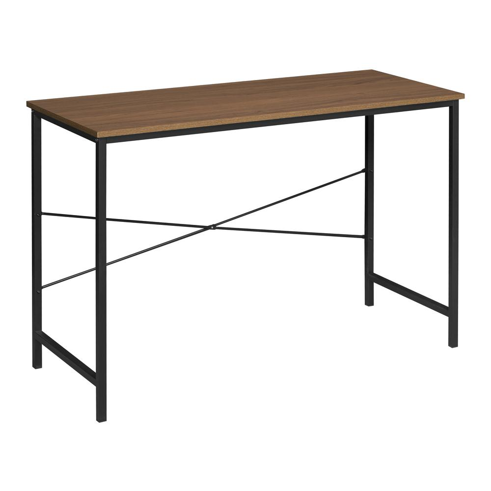Niche Soho Urban Walnut Computer Desk With Reinforced Black Metal Frame