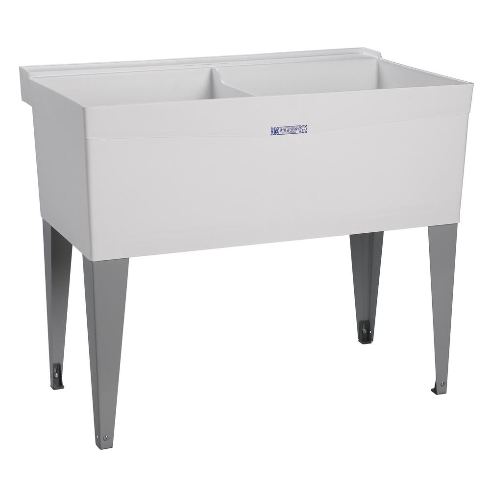 Mustee 40 in x 24 in double bowl plastic floor mount utility tub in white 27f the home depot for Bathroom sink backing up into tub