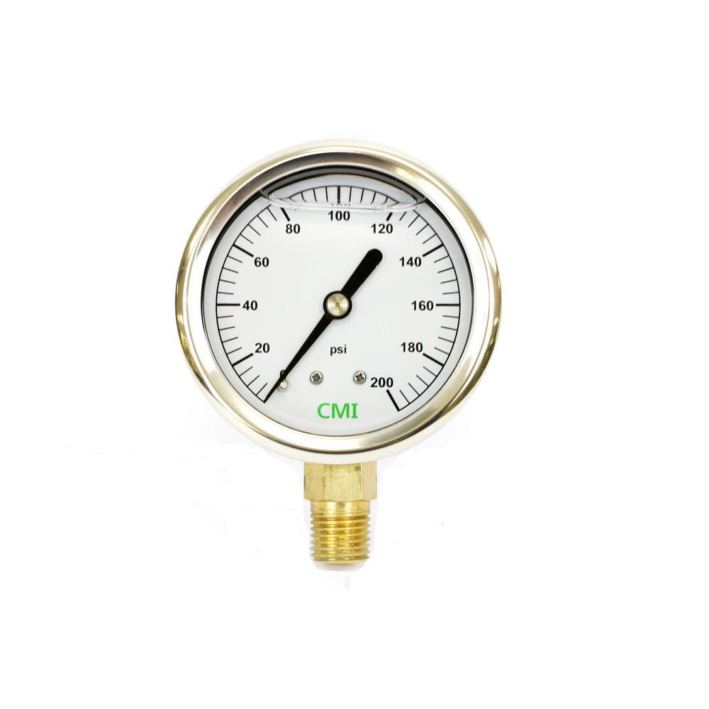 0 - 200 psi 2.5 in. Dial 1/4 in. Brass NPT Liquid Pressure Gauge (2-Pack)