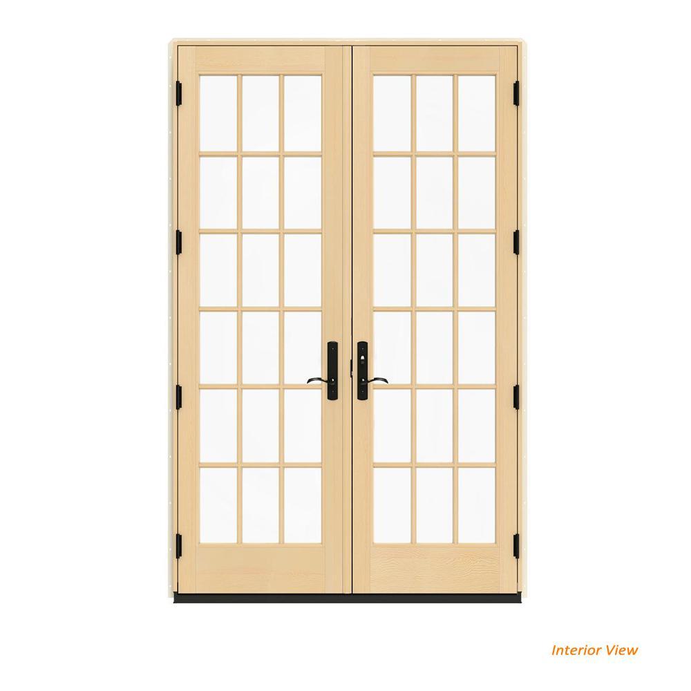 59.25 in. x 95.5 in. 18 Lite Natural Swinging French Patio Door in Desert Sand