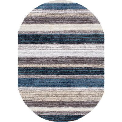 Drey Ombre Shag Blue Multi 4 ft. x 6 ft. Oval Rug