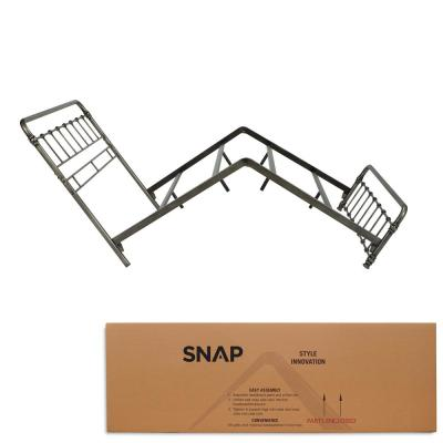 Fremont Weathered Nickel King Snap Bed with Rounded Edge Panels and Folding Metal Side Rails