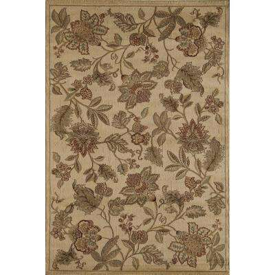 Clary Bouquet of Blossoms Beige 2  ft. 3 in. x 7  ft. 10 in. Rectangular Runner