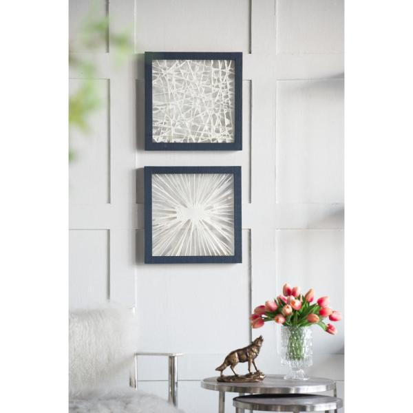 A B Home Ivory Indigo Framed Chic Wood Wall Decor Set Of 2 44739 The Home Depot