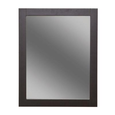 Del Mar 24 in. x 30 in. Framed Wall Mirror in Espresso