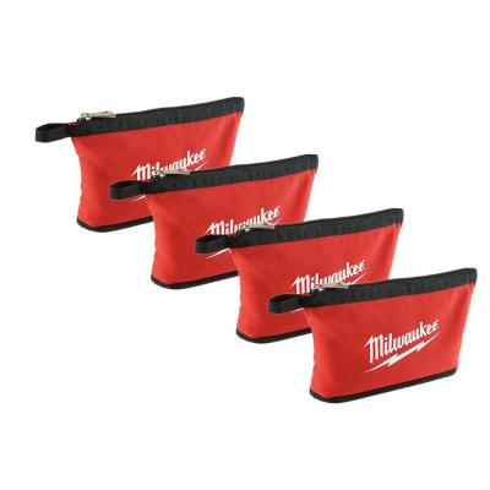 12 in. Red Zipper Tool Bag (4-Piece)