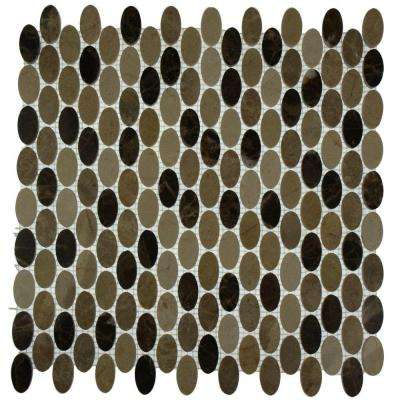 Orbit Woodland Ovals Mosaic Floor and Wall - 3 in. x 6 in. Tile Sample