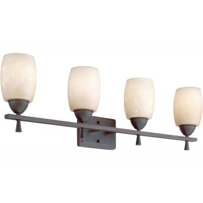 Ferros 4-Light Antique Bronze Wall Vanity Fixture with Tea-Stained Glass Shades