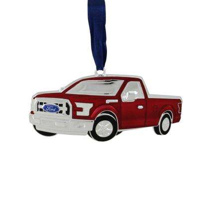 4 in. Officially Licensed Red Ford F-150 Pick Up Truck Collectible Silver Plated Christmas Ornament