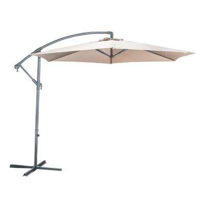 Guillermo 10 ft. Iron Cantilever Tilt Patio Umbrella in Sand
