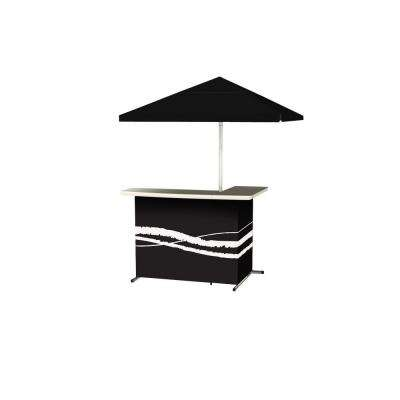 Classic Black All-Weather L-Shaped Patio Bar with 6 ft. Umbrella