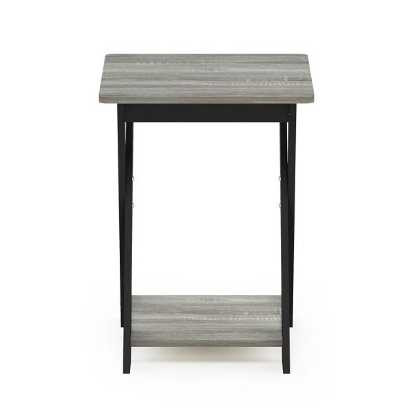 20 in. Modern Simplistic French Oak Grey/Black Criss-Crossed End Table