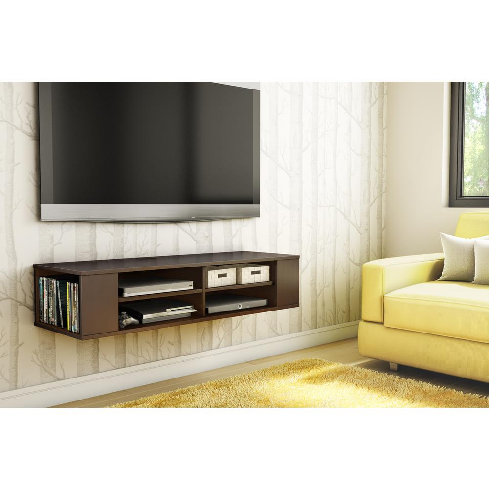 South S City Life 50 Disk Capacity Wall Mounted Media Console In Chocolate