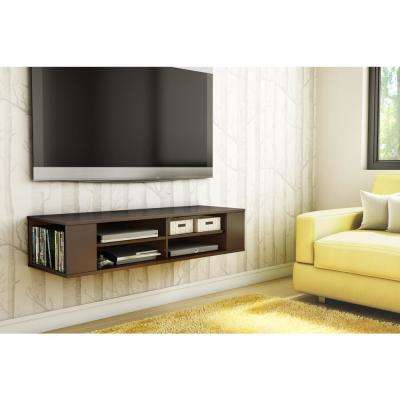 City Life 50-Disk Capacity Wall Mounted Media Console in Chocolate