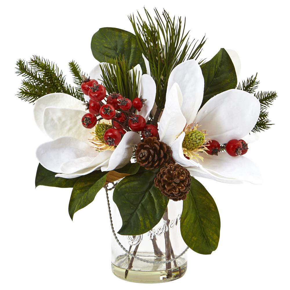 Nearly Natural Magnolia Pine And Berry In Glass Vase 4548 The