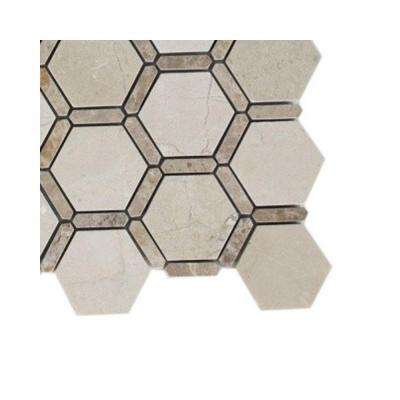 Ambrosia Crema Marfil and Light Emperador Stone Mosaic Floor and Wall Tile - 6 in. x 6 in. Floor and Wall Tile Sample