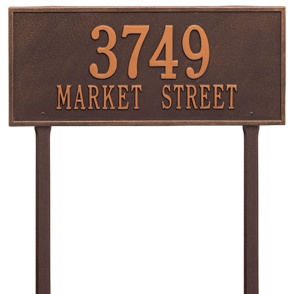 Whitehall Products Hartford Rectangular Antique Copper Estate Lawn 2-Line Address Plaque