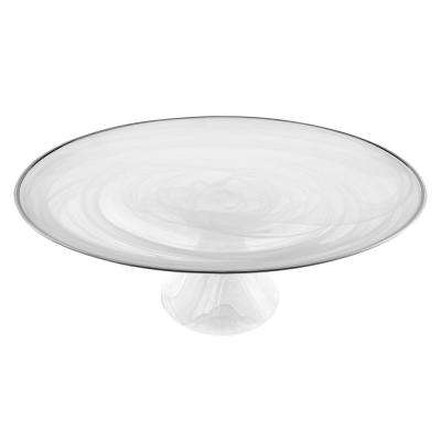 White Alabaster Glass with Silver Trim 13 in. Footed Cake Plate