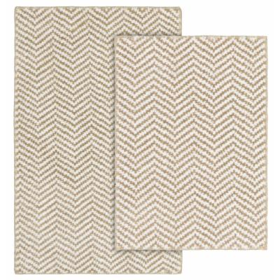Palazzo II Tan and White 21 in. x 34 in. Cheveron Nylon Polyester 2-Piece Bath Mat Set