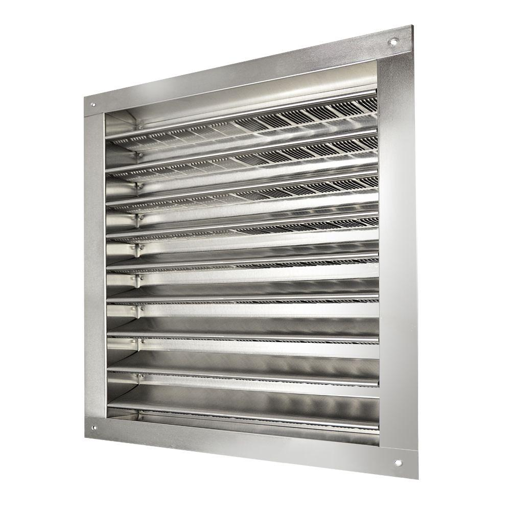 Master Flow 12 in. x 12 in. Aluminum Wall Louver Static Vent in Mill