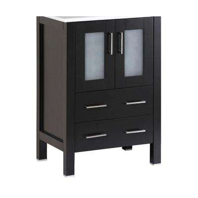 Bosconi 22.9 in. Single Vanity Cabinet Only in Black with Brushed Nickel Hardware