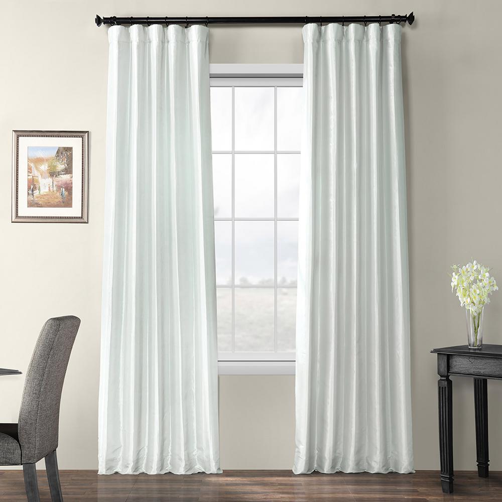 Pearl Gray Blackout Faux Silk Taffeta Curtain - 50 in. W x 120 in. L