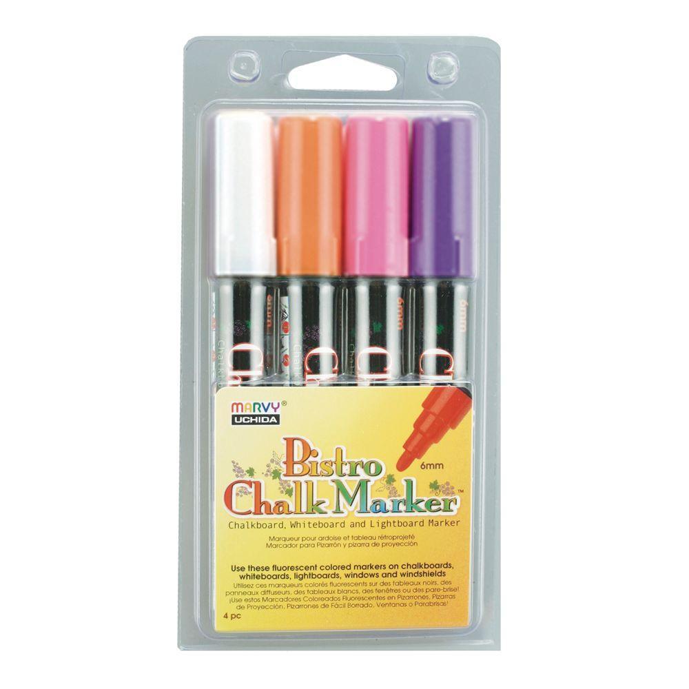 Marvy Uchida Fluorecent Colors Bistro Chalk Marker Set B (4-Piece)