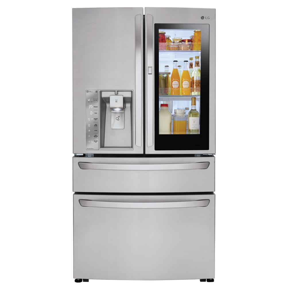 LG Electronics 23 cu. ft. 4-Door French Door Smart Refrigerator with InstaView Door-in-Door in Stainless Steel, Counter Depth