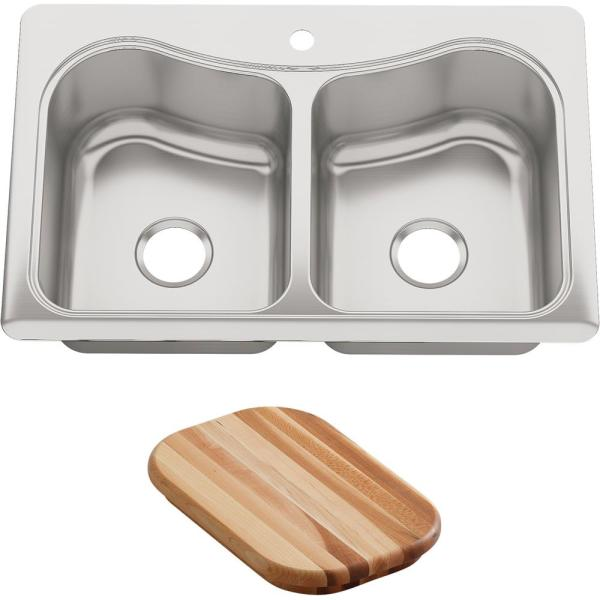 Staccato Drop-In Stainless Steel 33 in. 1-Hole Double Bowl Kitchen Sink with Hardwood Cutting Board